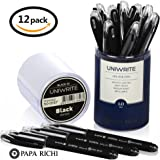 Papa Richi LUXURY Oil Pens UNIWRITE (Pack of 12) with Kernel 1.0mm – Premium Quality & Easy Writing - Original (Blue) Ink or Black Ink - Business Gift Pens - 30 Day Warranty (12 UniWrite 1.0, Black)
