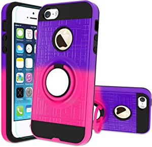 iPhone 5S Case, iPhone SE Phone Case with HD Screen Protector,Atump 360 Degree Rotating Ring Holder Kickstand Bracket Cover Phone Case for iPhone 5 Purple/Red