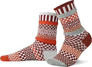 product image for Solmate Socks - Mismatched Crew Socks; Made in USA; Lava Large