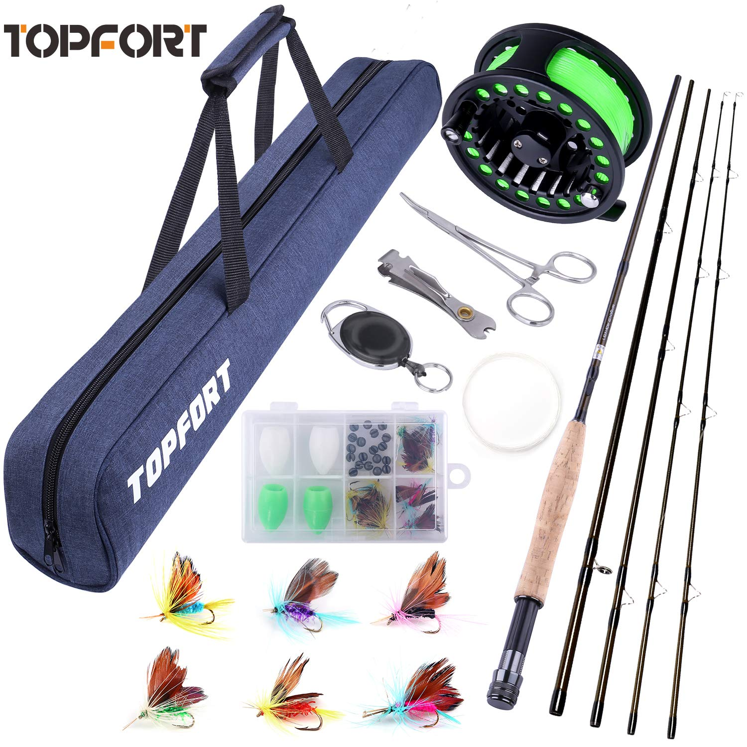 TOPFORT Fly Fishing Rod and Reel Combo, 4 Piece Lightweight Ultra-Portable Graphite Fly Rod 5 6 Complete Starter Package with Carrier Bag