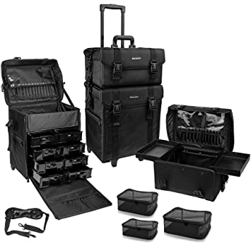 49d533ecb57b SHANY Cosmetics 2 Compartment Soft Black Rolling Trolley Makeup Case ...