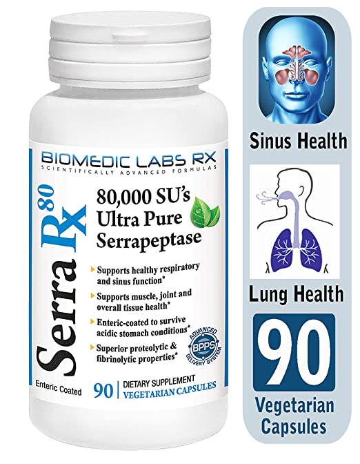 Serra-RX 80,000 SU Serrapeptase - Limited TIME Offer - Enteric Coated  Proteolytic Systemic