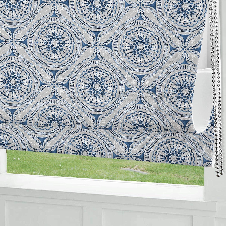 Roman Shades Window Shades, Blue Pattern Blackout Light Filtering Custom Window Roman Blinds, 10% Linen Fabric Roman Shades for Windows, French Doors, Doors, Kitchen Windows (1 Piece)