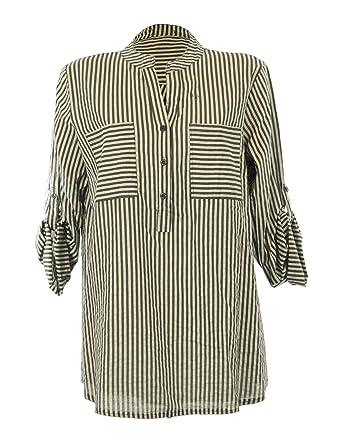 Moda Italy Damen Bluse Fischerhemd Folklore Bluse Longbluse mit Streifen  Muster V-Ausschnitt und Langen Ärmel  Amazon.de  Bekleidung df8c5dc10e