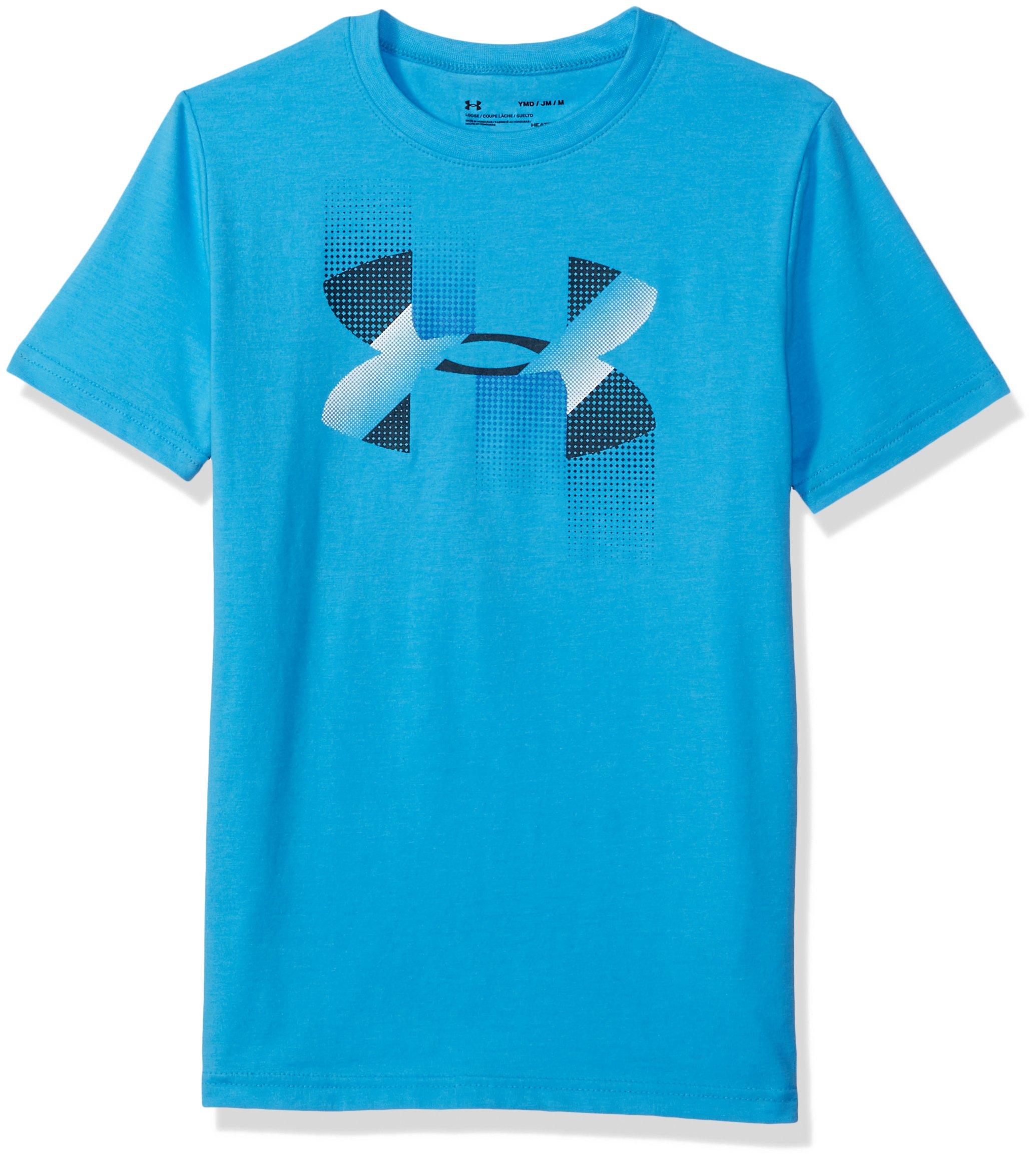 Under Armour Boys' Rapid Logo T-Shirt, Canoe Blue (713)/Academy, Youth Medium