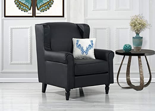Classic Scroll Arm Faux Leather Accent Chair, Living Room Armchair (Black)