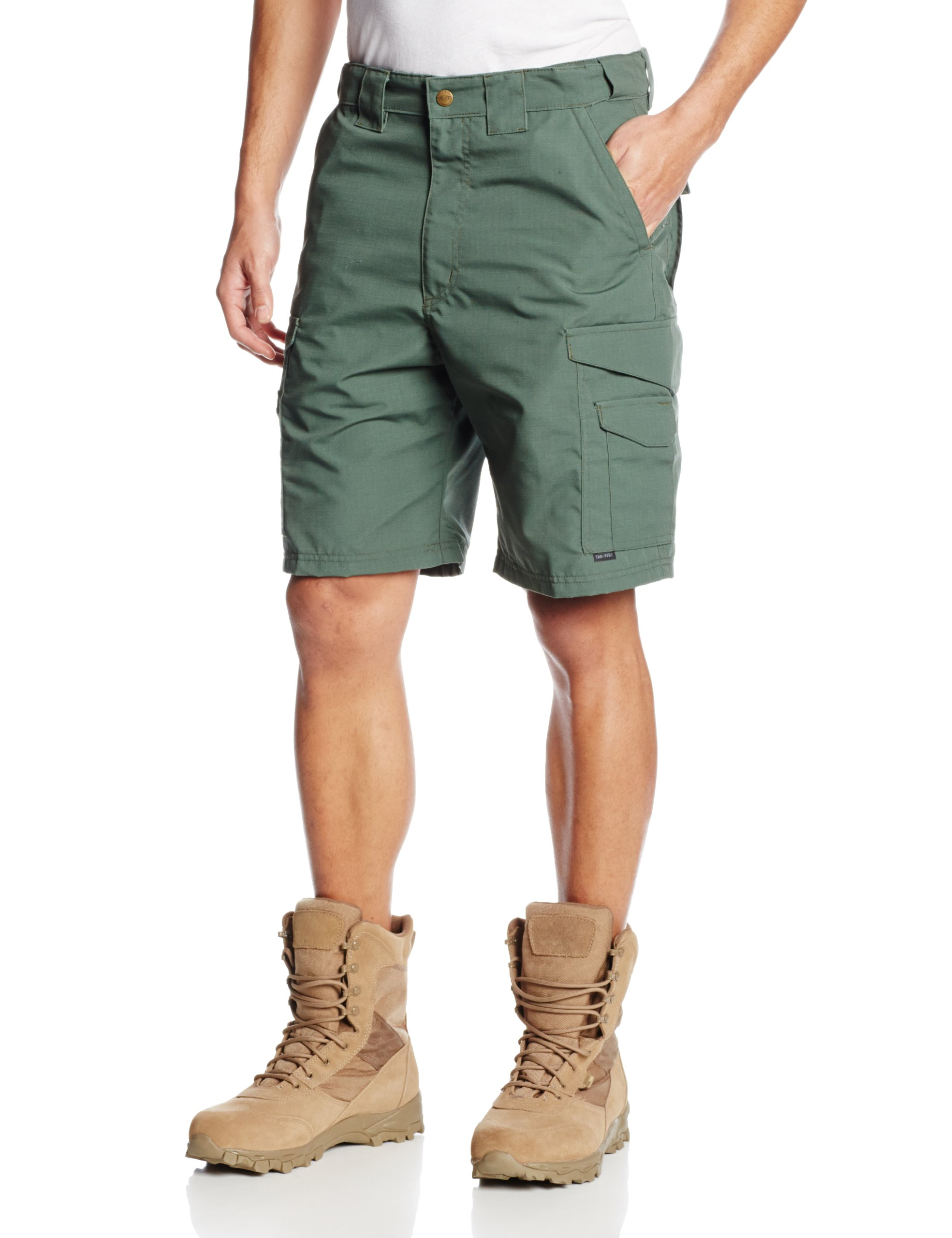 Tru-Spec Men's 24-7 Polyester Cotton Rip Stop 9-Inch Shorts, Olive Drab, 34-Inch