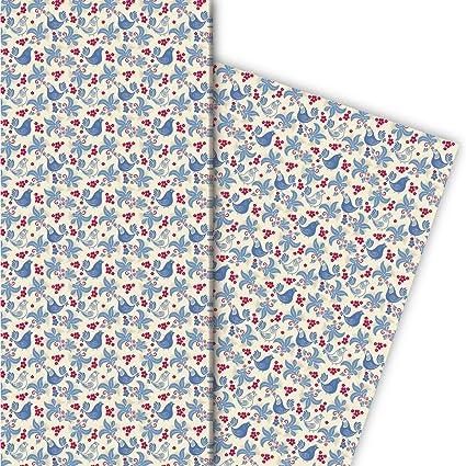 Folklore Geschenkpapier Set 4 Bogen Mit Hühnern Blau