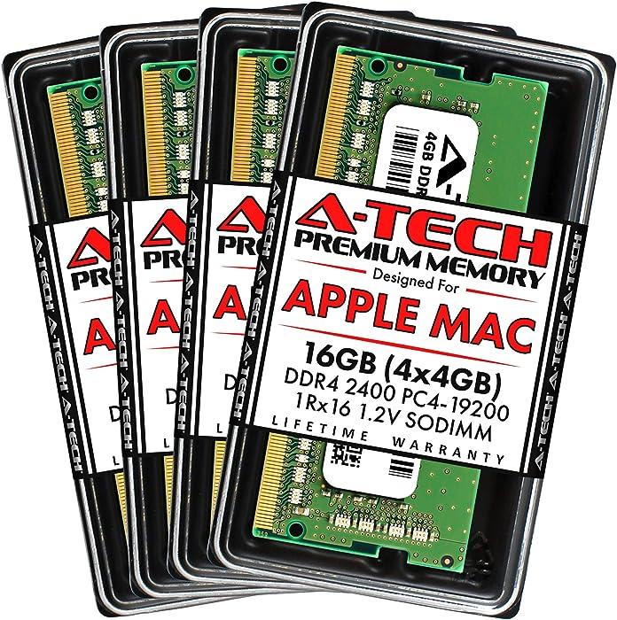 A-Tech 16GB (4x4GB) RAM for Apple 2017 iMac 27 inch Retina 5K | DDR4 2400MHz PC4-19200 SO-DIMM 260-Pin CL17 1.2V Non-ECC Unbuffered Memory Upgrade Kit