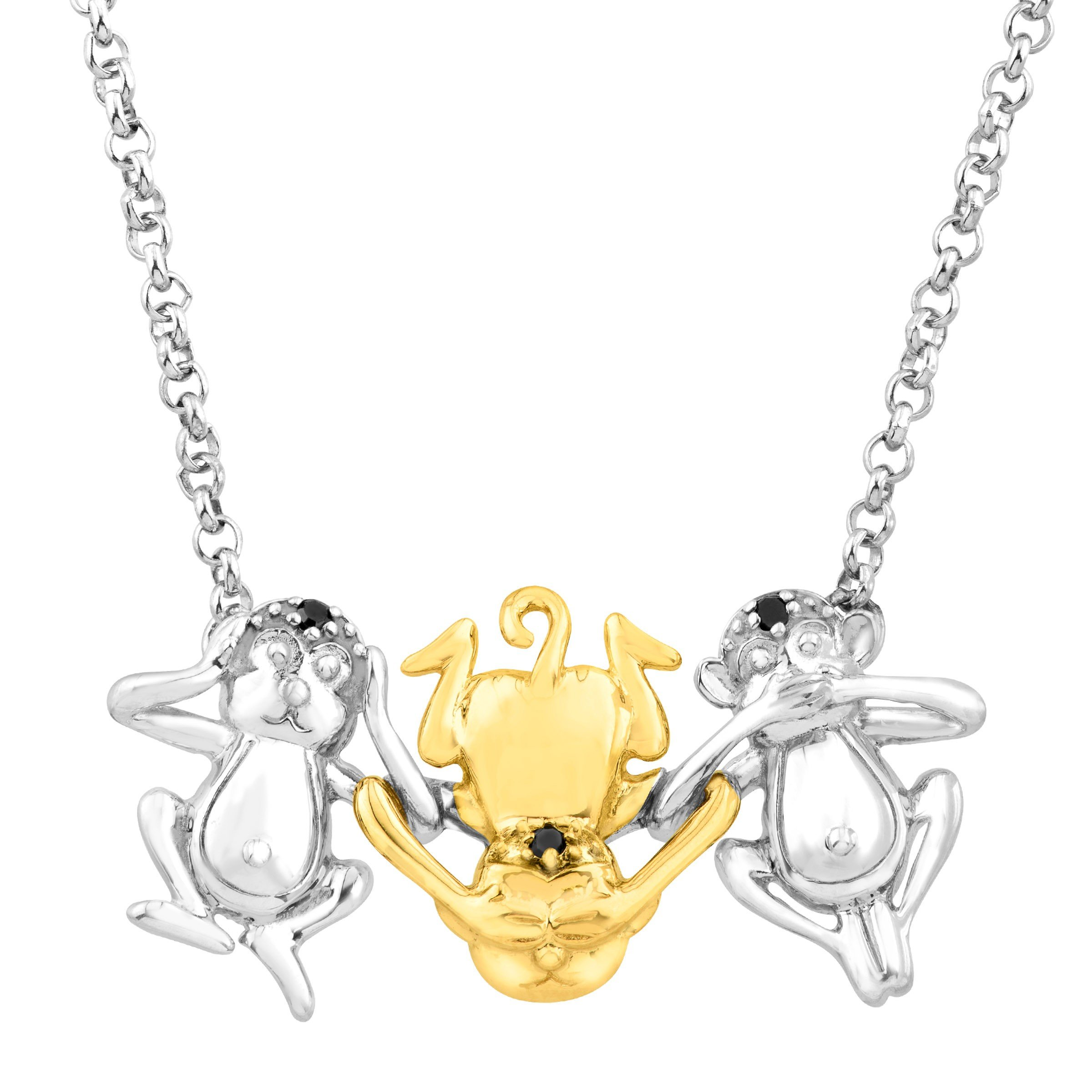 Three Wise Monkey Necklace with Enhanced Black Diamonds in Sterling Silver & 14K Gold
