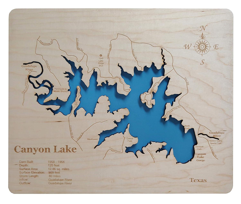 map of canyon lake Amazon Com Canyon Lake Texas Standout Wood Map Wall Hanging map of canyon lake