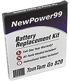 Kit de Remplacement de Batterie pour TomTom Go 820 Série (Go 820, Go 825) GPS avec Vidéo d'Installation, Outils, et Batterie longue durée.