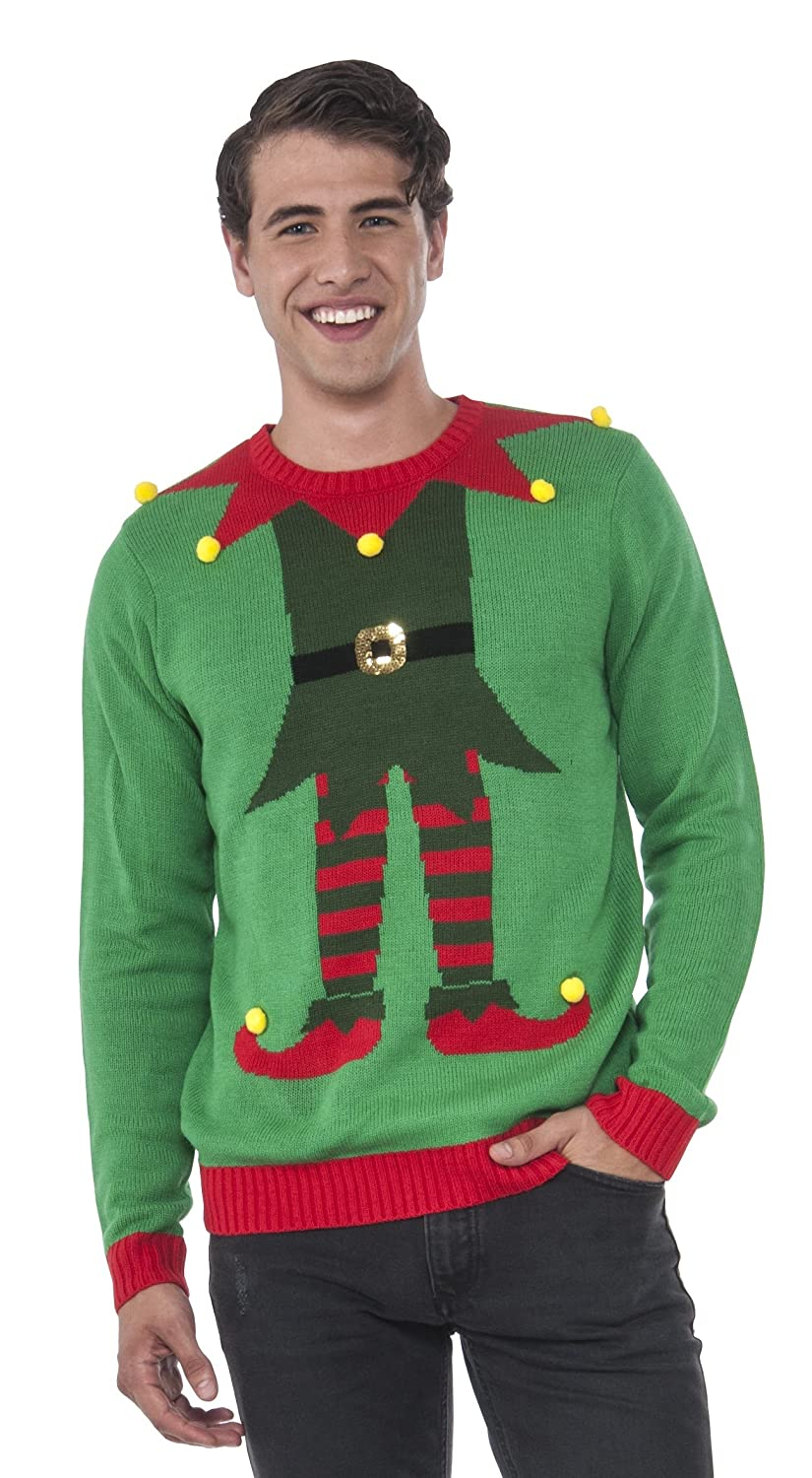 Amazon.com: Rubie's Men's Green Elf Ugly Christmas Sweater: Clothing