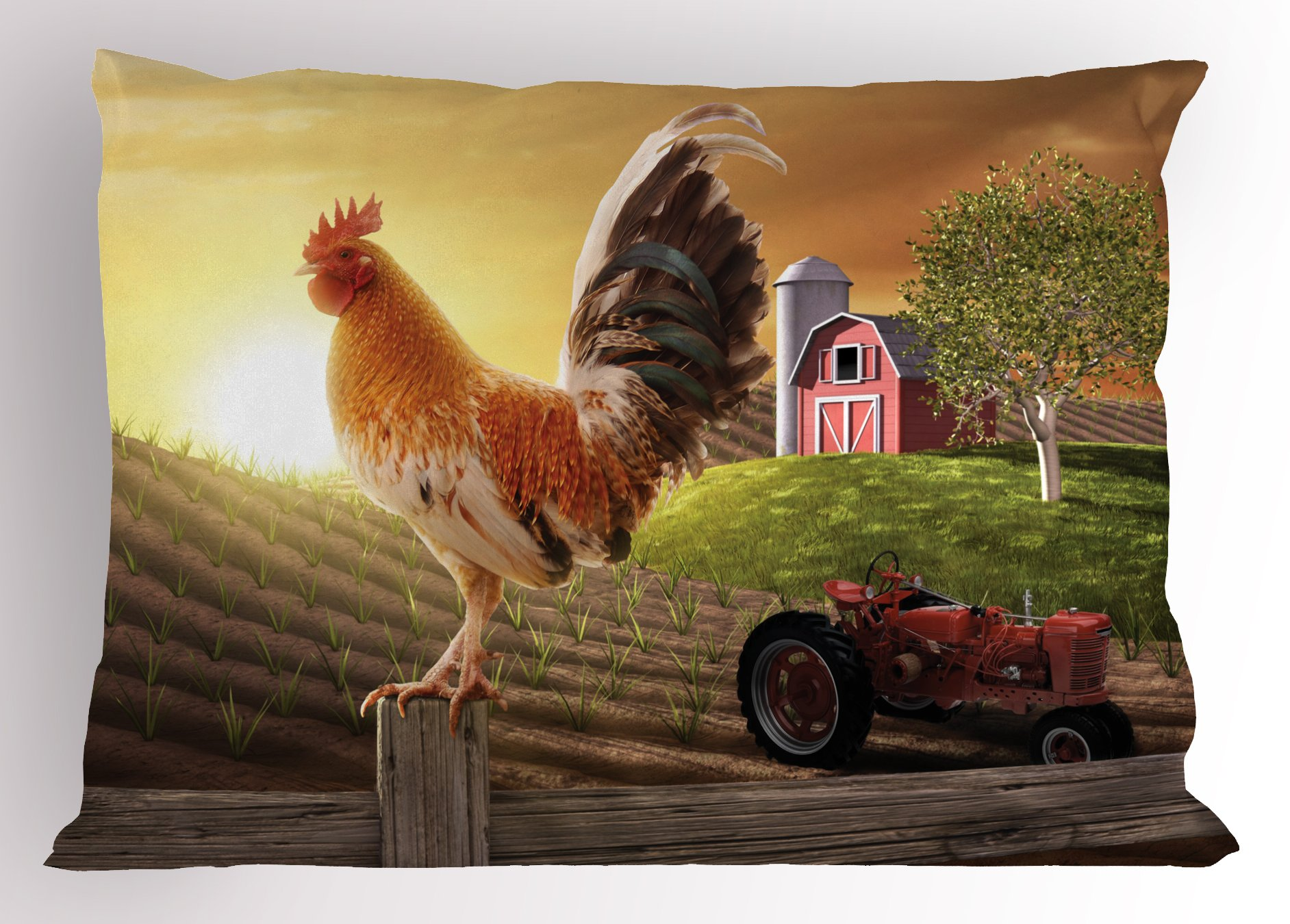 Ambesonne Country Pillow Sham, Farm Barn Yard Image with Rooster Animal Early Bird Nature and Rising Sun, Decorative Standard Queen Size Printed Pillowcase, 30 X 20 Inches, Light Brown Red