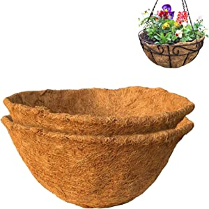 Round Coco Liner, Coco Fiber Replacement, 16-inch Thick Coconut Liner for Plant Hanging Basket, Garden Planter Flower Pot(2PCS )