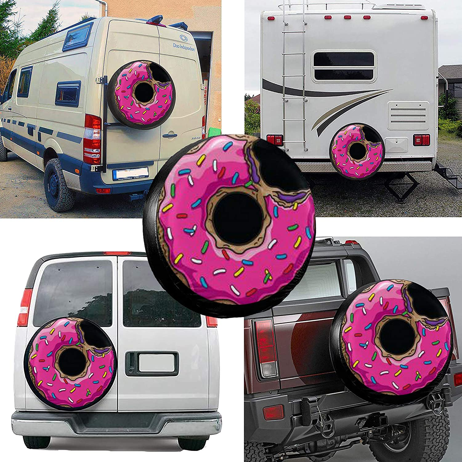 MSGUIDE Donut Spare Wheel Tire Cover Weatherproof Tire Protectors for Jeep Trailer RV SUV Truck and Many Vehicles 14 15 16 17