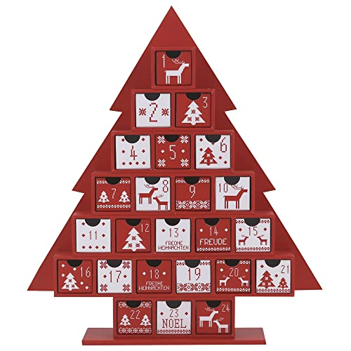 Valery Madelyn Traditional Red and White Christmas Decoration Paper Tree Advent Calendar with 24 Drawers, 35cm
