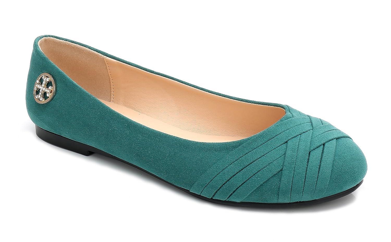 ComeShun Womens Shoes Classic Slip B0755ZKWZT On Comfy Ballet Flats B0755ZKWZT Slip 38 EU/7 US|Green b22d68