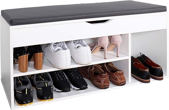 Ricoo Wm034 W A Meuble A Chaussures 103x49x30cm Bois Blanc Banc Coffre Rangement Commode Banquette Meuble De Rangement Chaussures Coussin Gris Amazon Fr Cuisine Maison