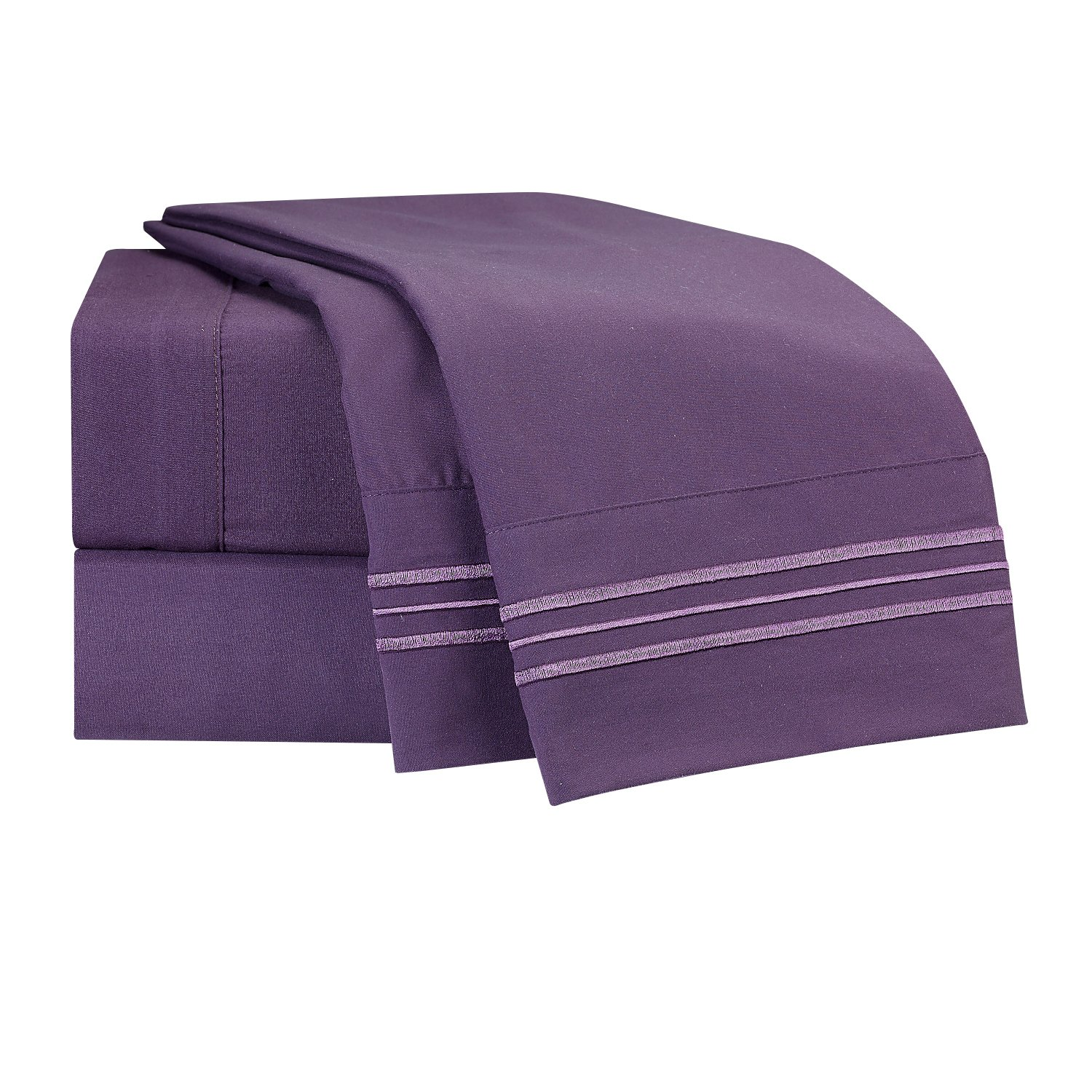 Clara Clark Premier 1800 Collection 4pc Bed Sheet Set - Queen Size, Purple Eggplant,