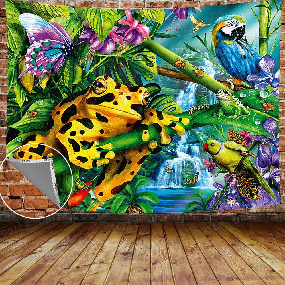 "DBLLF Frog Tapestry Rainforest Creature Spring Summer Nature Scenery Wall Hanging Tapestry,Queen Size 80""x60"" Flannel Art Tapestries,for Living Room Dorm Bedroom Home GTZYDB16"