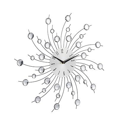 Relaxdays 10023275 Orologio da Parete XL con Brillantini Grande per Cucina  Salotto senza Ticchettio Diametro 50 cm Argento