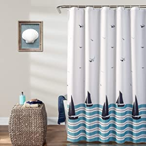 """MYSKY HOME Kids Shower Curtain, Fabric Sailboat Shower Curtain Set with Hooks Waterproof Shower Curtain Liner for Bathroom Decor,Bathtub Use,Toilet Divider,Hotel,72""""x72"""",Machine Washable"""