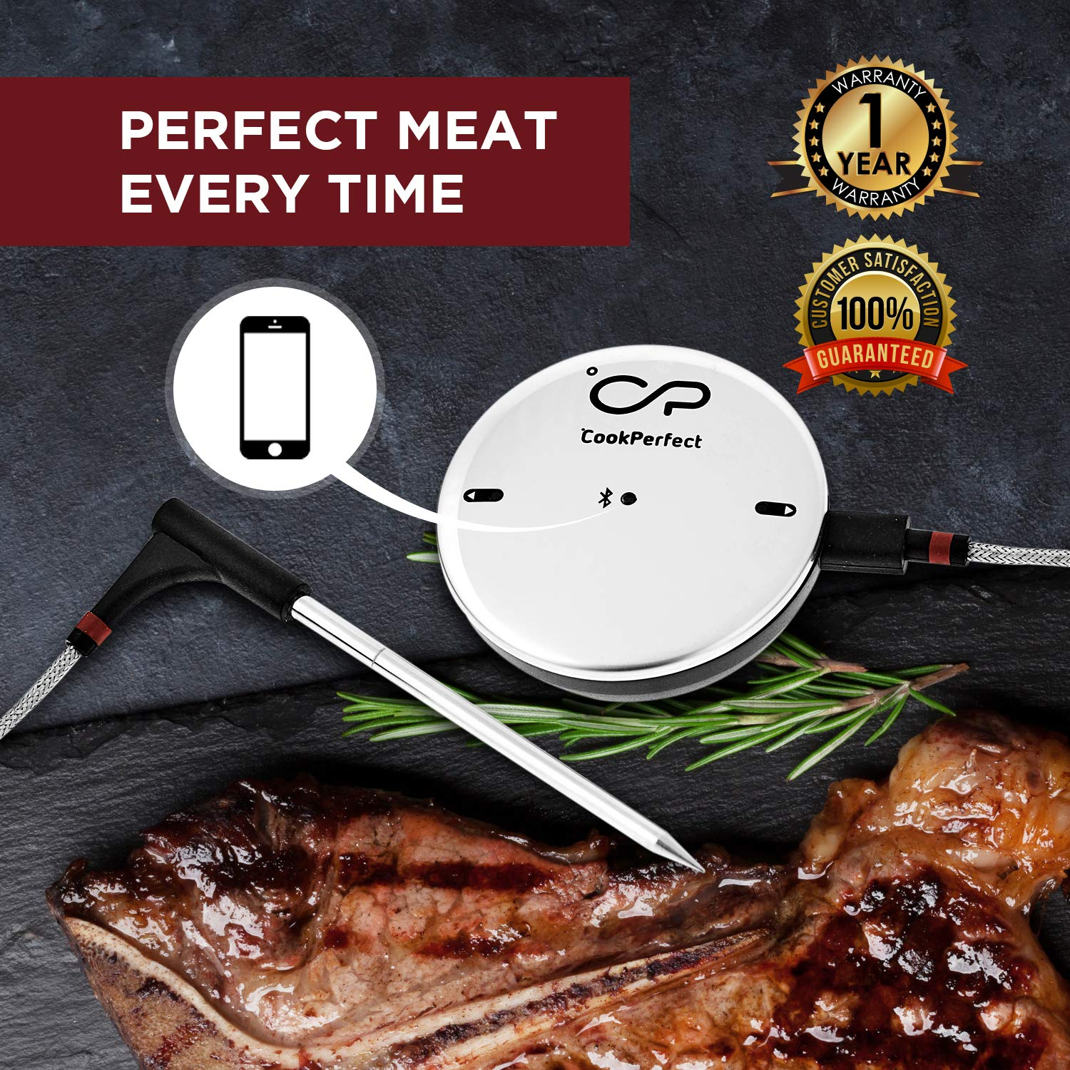 CookPerfect Wireless Meat Thermometer with 400ft Bluetooth Range | Automatic Core and Air Temperature Readings | for BBQ, Oven and Grill Cooking (1 Probe Included) by CookPerfect (Image #2)
