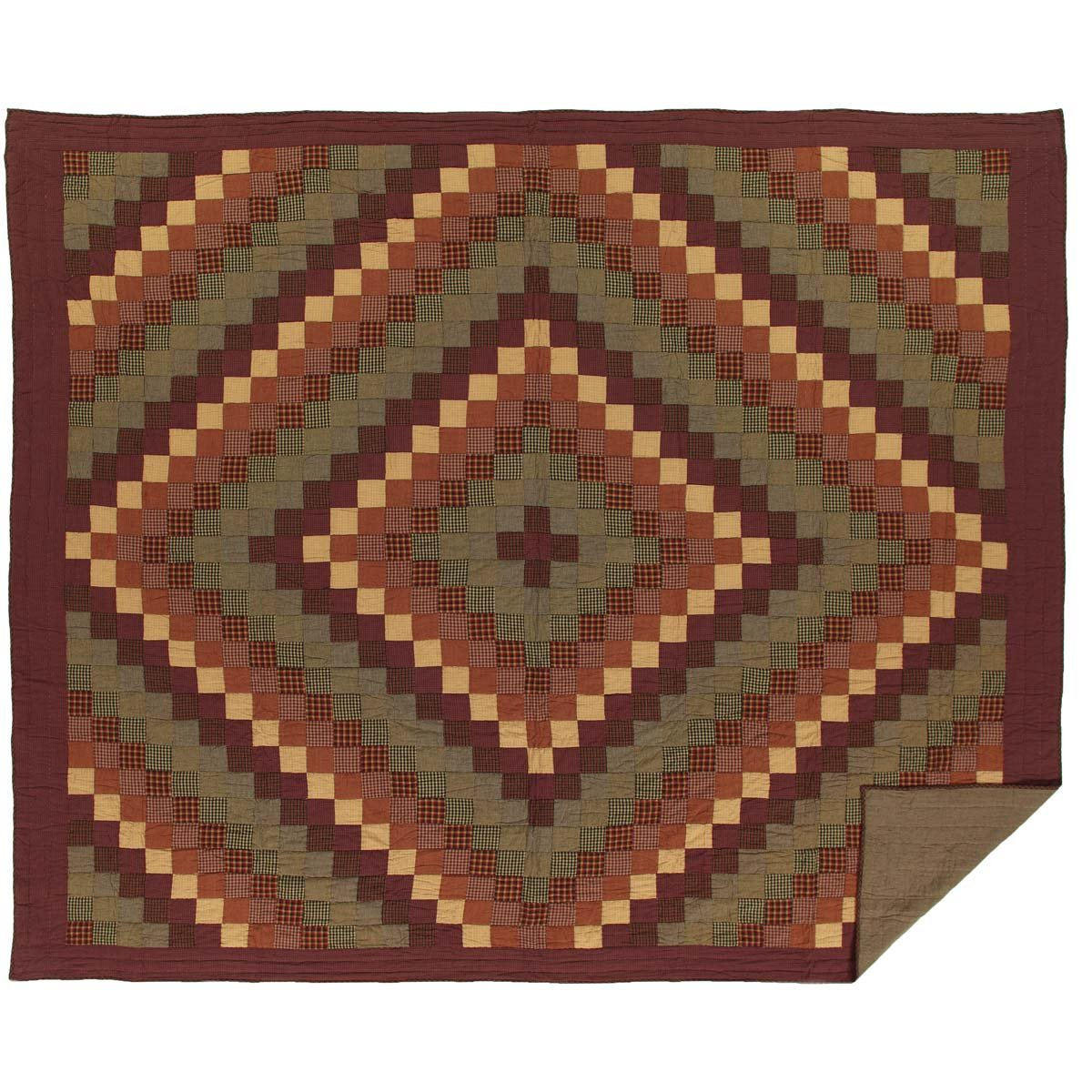 VHC Brands Rustic & Lodge Primitive Bedding - Heritage Farms Red Quilt Luxury King Burgundy 37904