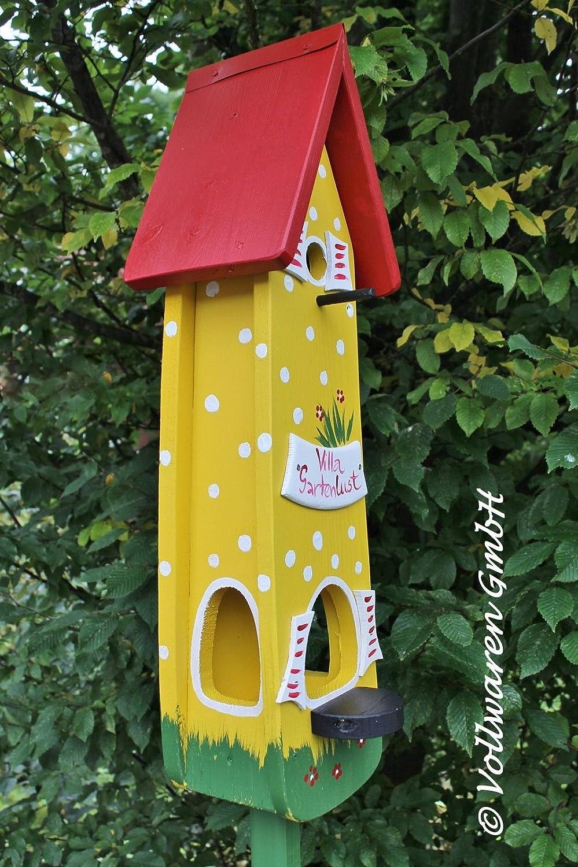 Original Die Vogelvilla, Minivilla 2 Spezial Gartenlust, Vogelhaus & Nistkasten, 2in1, in gelb-rot , weiß Tupfenoptik