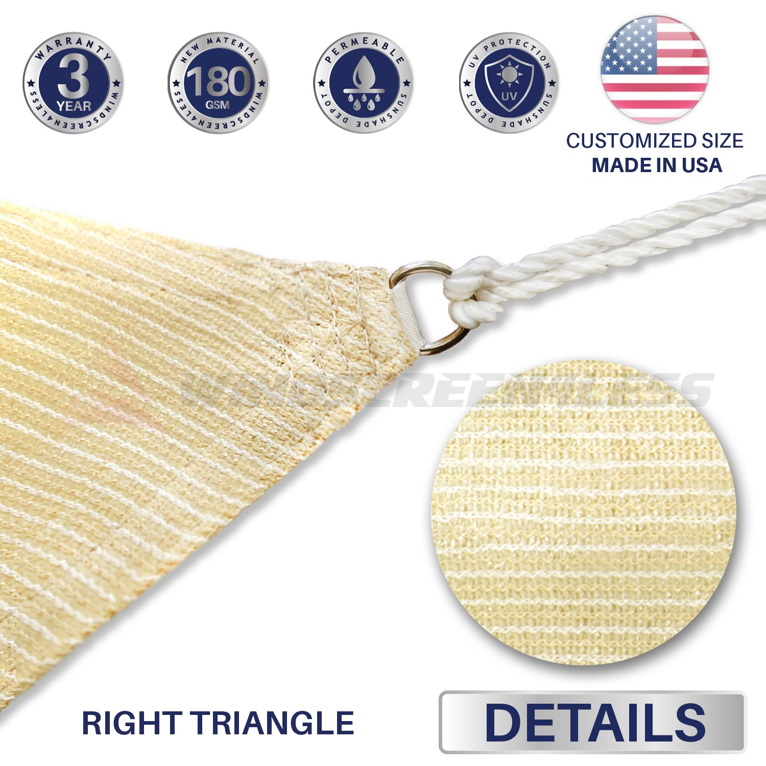 Windscreen4less 16 x 16 x 22.6 Triangle Sun Shade Sail – Beige with White Strips Durable UV Shelter Canopy for Patio Outdoor Backyard – Custom 3 Year Warranty