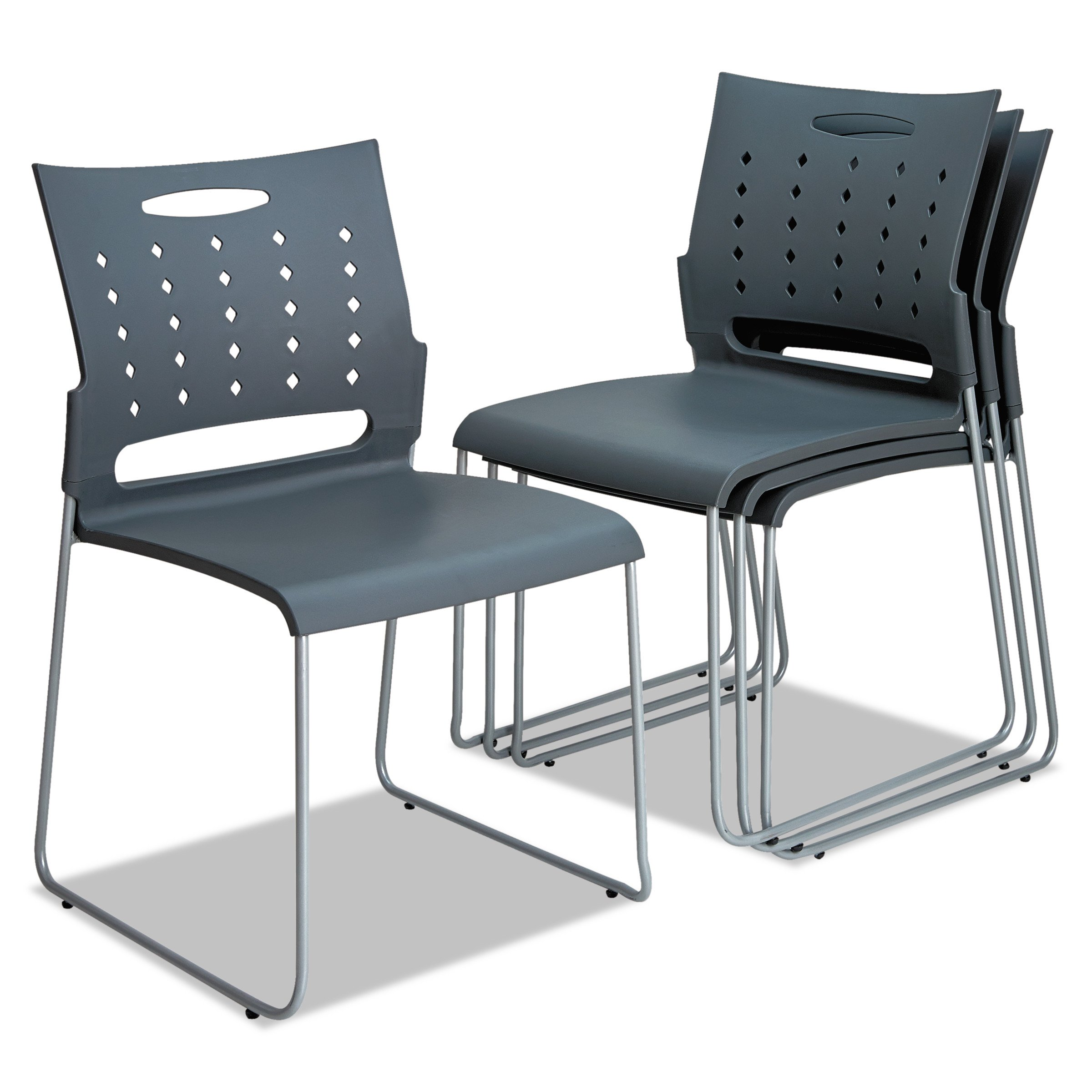 Alera ALESC6546 Continental Series Perforated Back Stacking Chairs, Charcoal Gray (Case of 4)