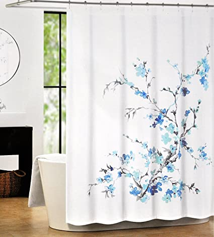 Tahari Luxury Cotton Blend Shower Curtain Printemps Turquoise Blue Grey Floral Branches By Home