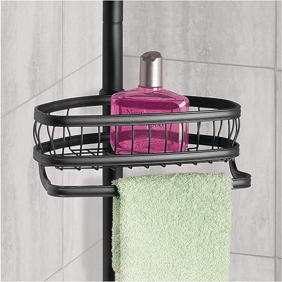 Soap Matte Black Body Wash Conditioner InterDesign 42677 York Bathroom Constant Tension Corner Shower Caddy for Shampoo