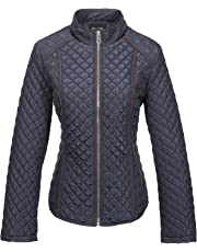 Bellivera Womens Lightweight Quilted Spring Zip Jacket