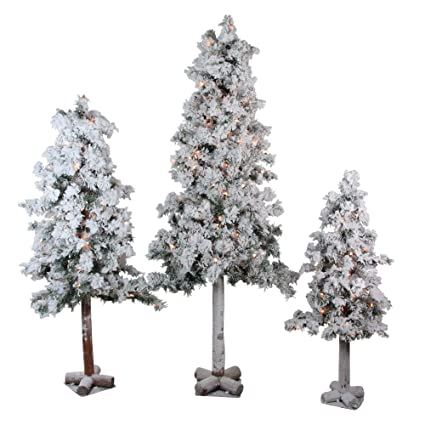 Flocked Pre Lit Christmas Tree.Northlight Set Of 3 Pre Lit Heavily Flocked Alpine Artificial Christmas Trees 3 4 And 5 Clear Lights