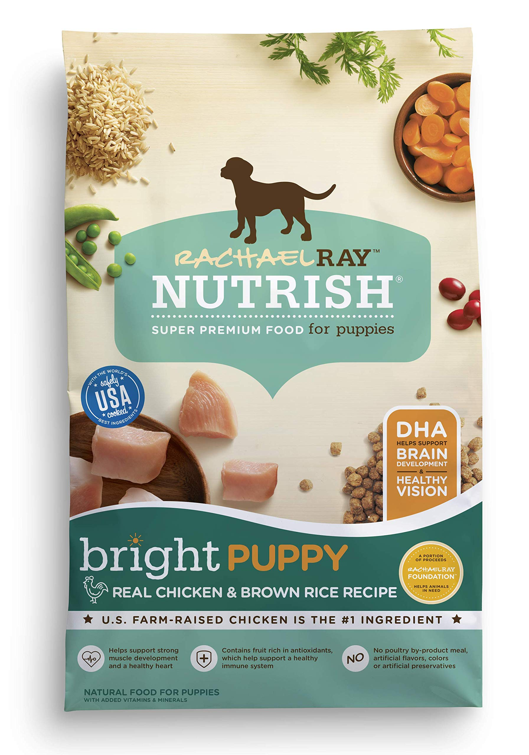 Rachael Ray Nutrish Bright Puppy Natural Dry Dog Food, Real Chicken & Brown Rice Recipe, 14lbs