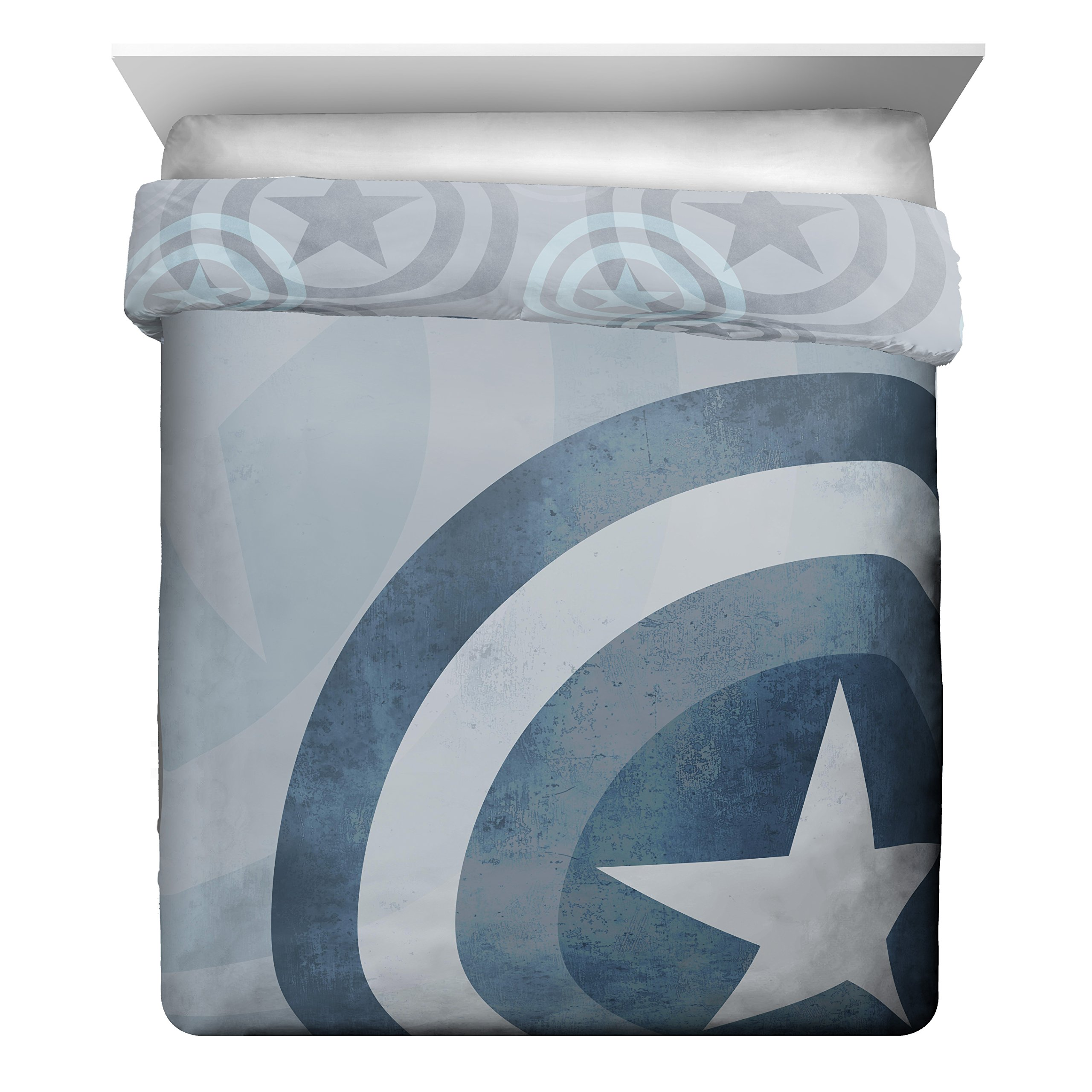 Marvel Captain America Lifestyle Shield Reversible Comforter & Sham, Full/Queen
