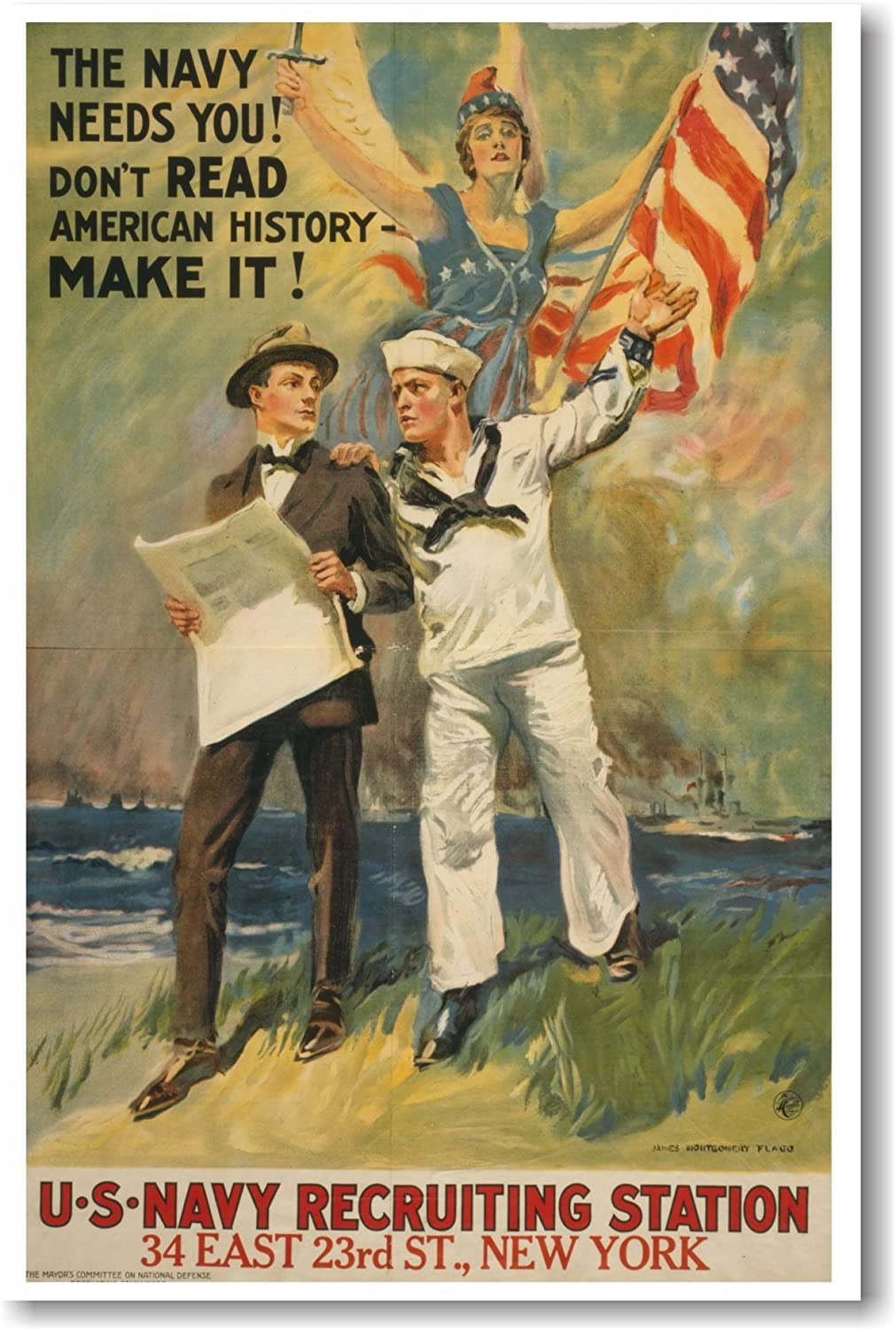 Don/'t Read American History MAKE IT! NEW Vintage POSTER The Navy Needs You!
