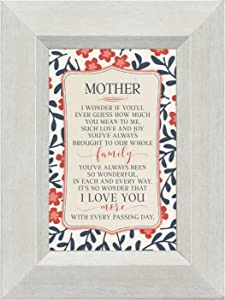 Mother Love Joy to Family I Love You 4.5 x 6 Inch Framed Easel Back Sign Plaque