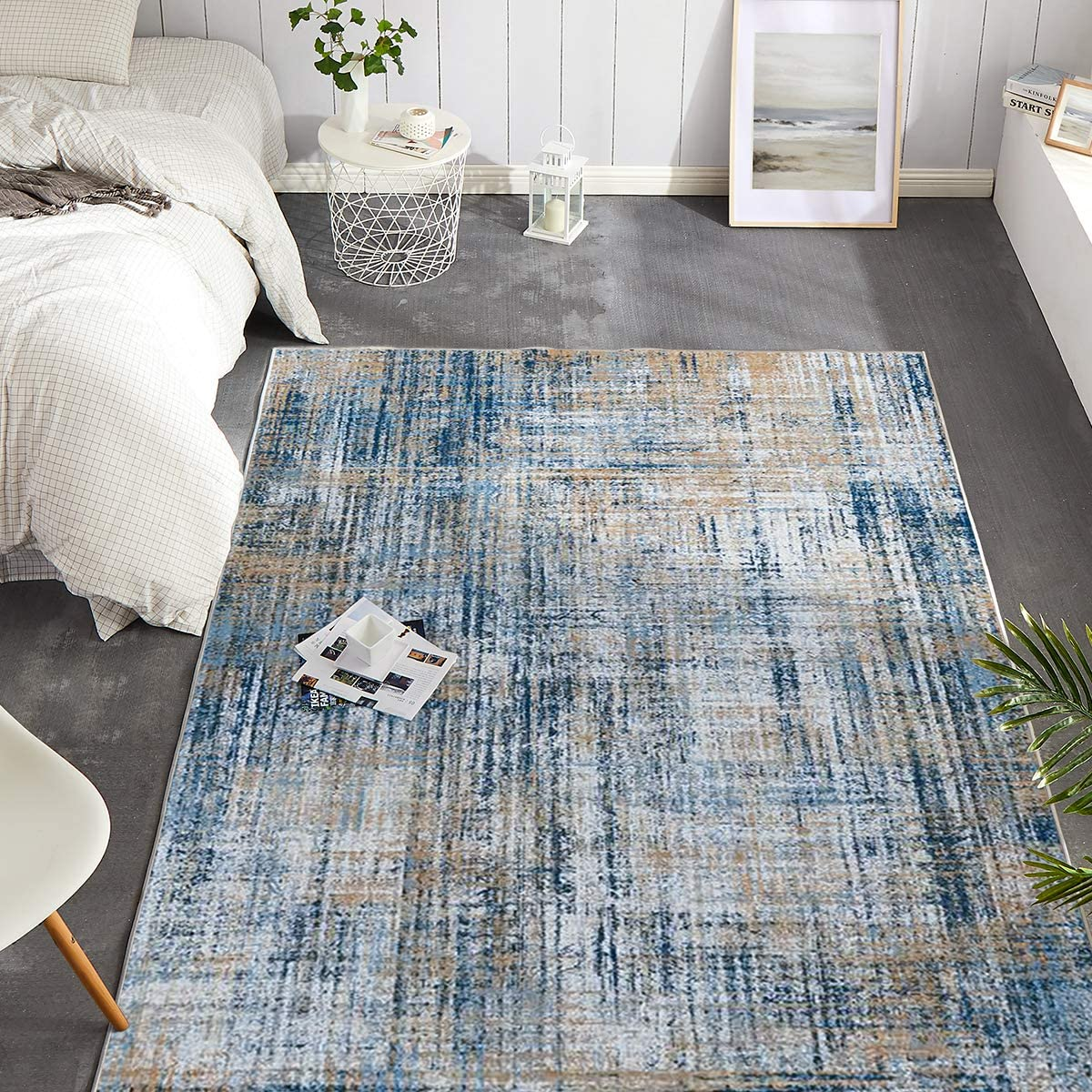 JINCHAN Floorcover Area Rug Navy Modern Abstract Colorful Low Pile Mat for Bedroom Kitchen Living Room Indoor 4'x 6'