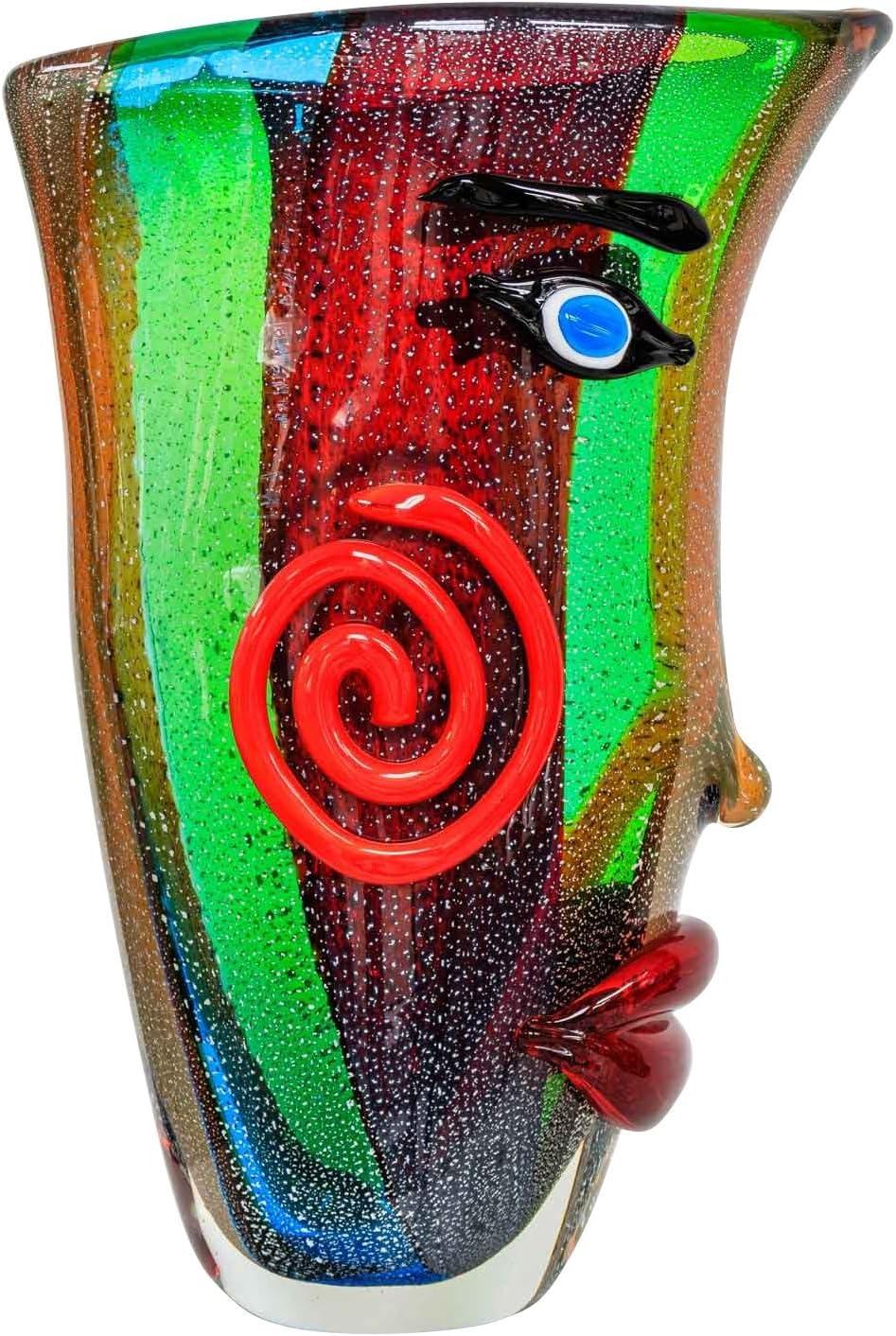Florero de Cristal Rostro Vidrio Estilo Antiguo Murano 35cm jarr/ón