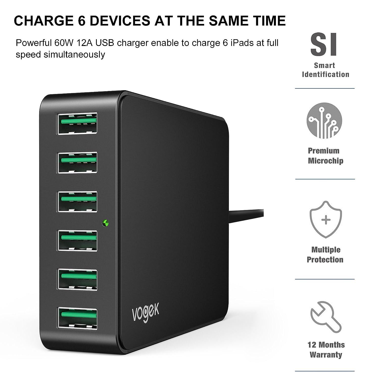 Amazon.com: Cargador USB, Vogek 60 W 12 A 6 puertos USB ...