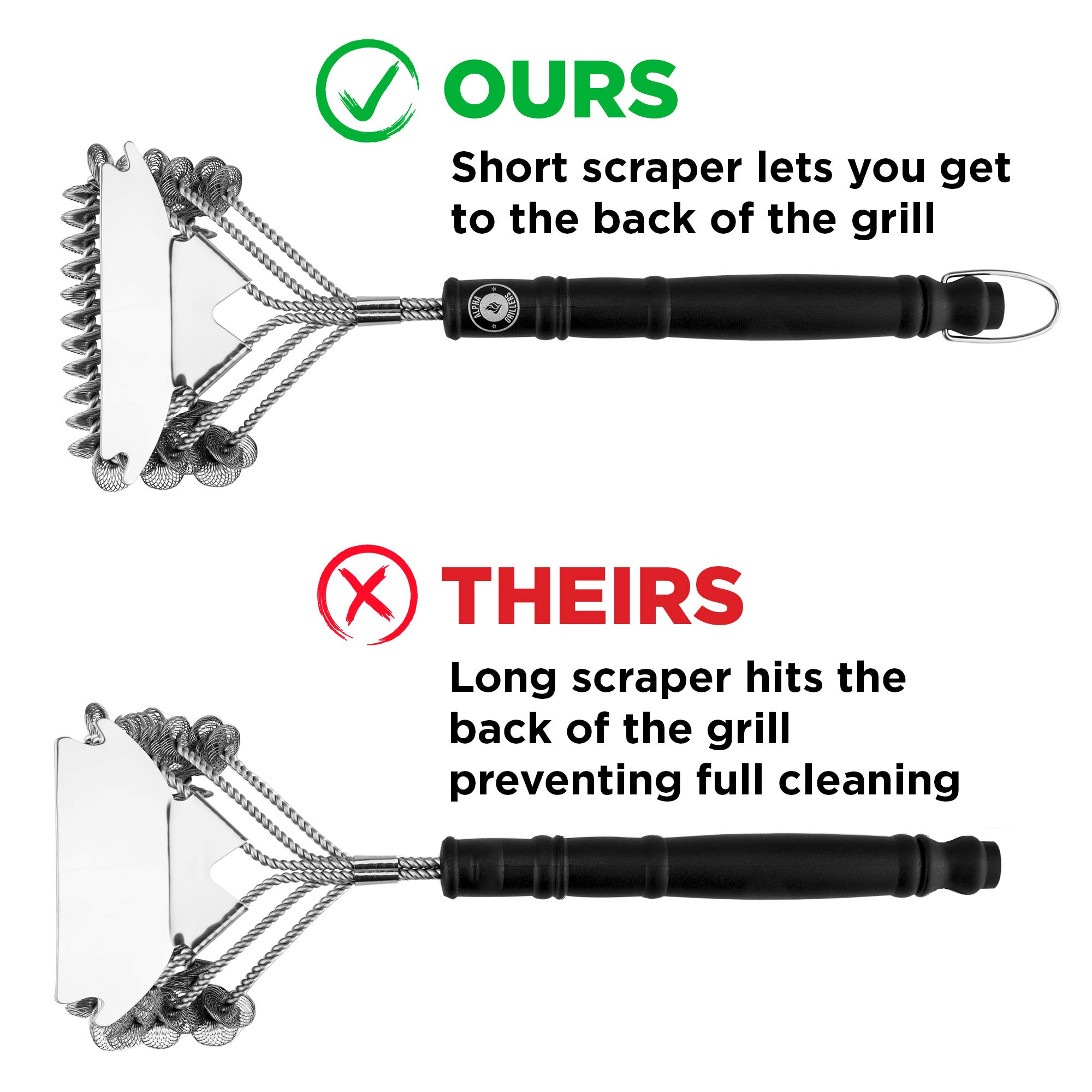 Alpha Grillers Grill Brush Bristle Free. Best Safe BBQ Cleaner with Extra Wide Scraper. Perfect 18 Inch Stainless Steel Tools for All Grill Types, Including Weber. Ideal Barbecue Accessories by Alpha Grillers (Image #5)