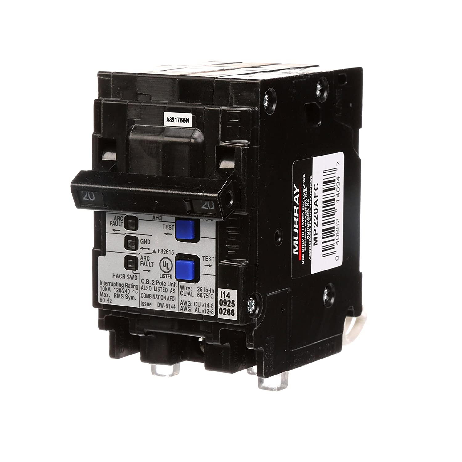 Murray Mp220afc 20 Amp 2 Pole 120 Volt Combination Type Arc Fault In Doublepole Gfci Circuit Breaker Interrupter Ground Interrupters