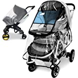 Stroller Rain Cover and Baby Stroller Mosquito Net(2-Piece Set),Universal Stroller Accessory,Waterproof, Windproof…
