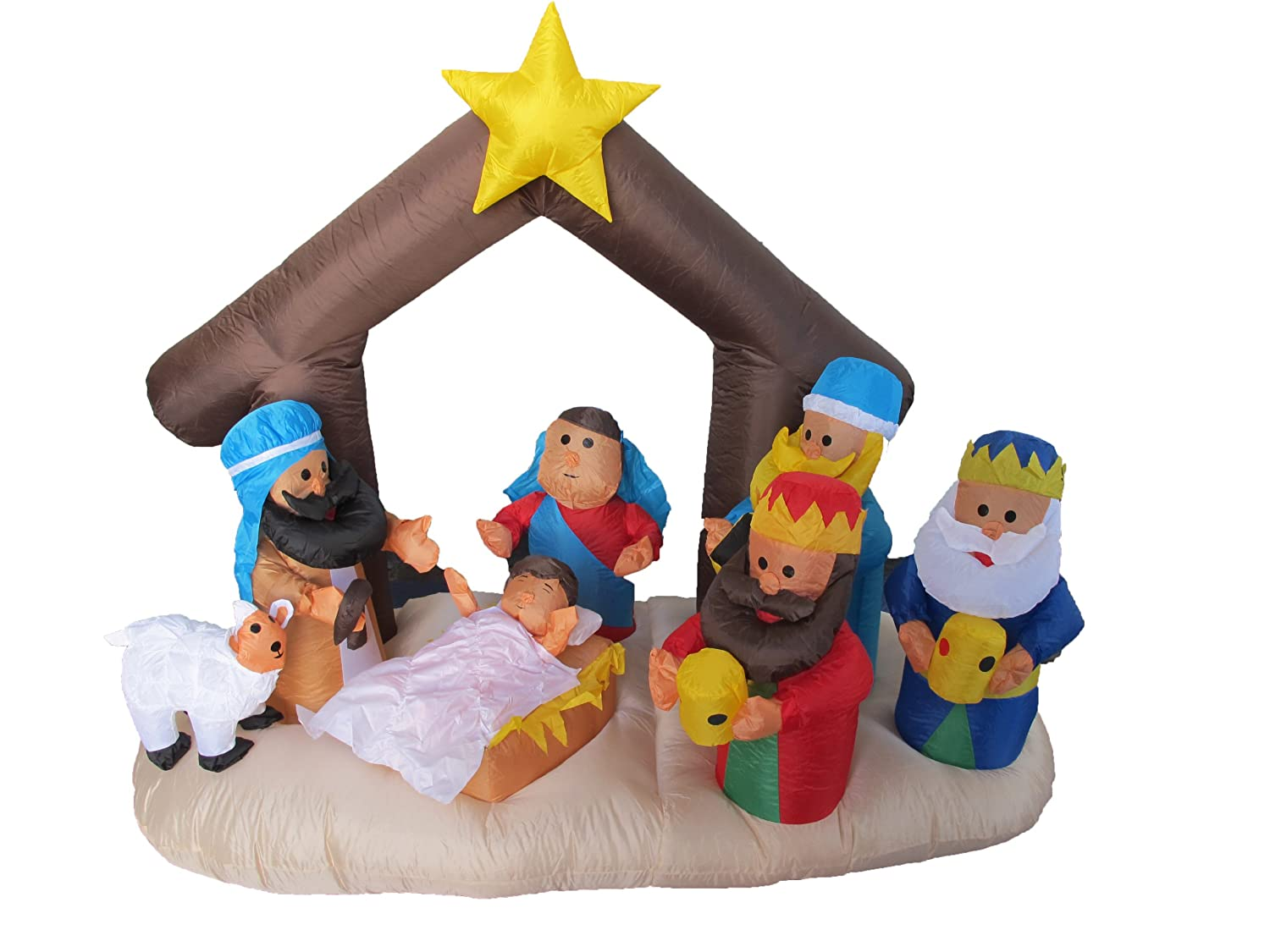 Inflatable christmas decorations outdoor cheap - Amazon Com 6 Foot Christmas Inflatable Nativity Scene With Three Kings Party Decoration Home Kitchen