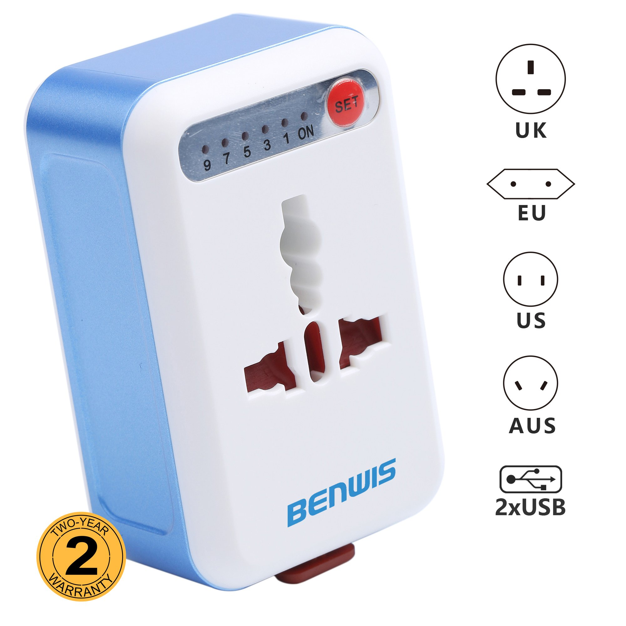 BENWIS Travel Adapter With 2 USB Ports, All In One USA UK European Australian Plug Converter for Travel Wall Charger (Sky Blue)
