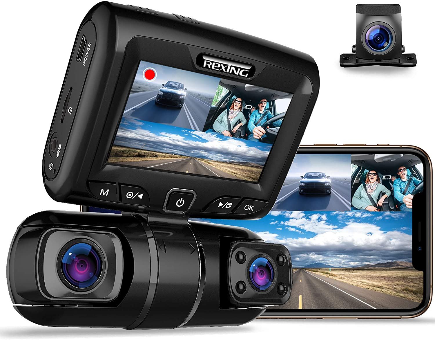 "REXING S1 Dash Cam 3-Channel Front,Rear,Cabin 1080P + 720p +720p, 3"" LCD, Infrared Night Vision, Parking Monitor, Mobile APP, WiFi, 170°Angle Lens, Loop Recording, Supercapacitor, Support up to 256GB"
