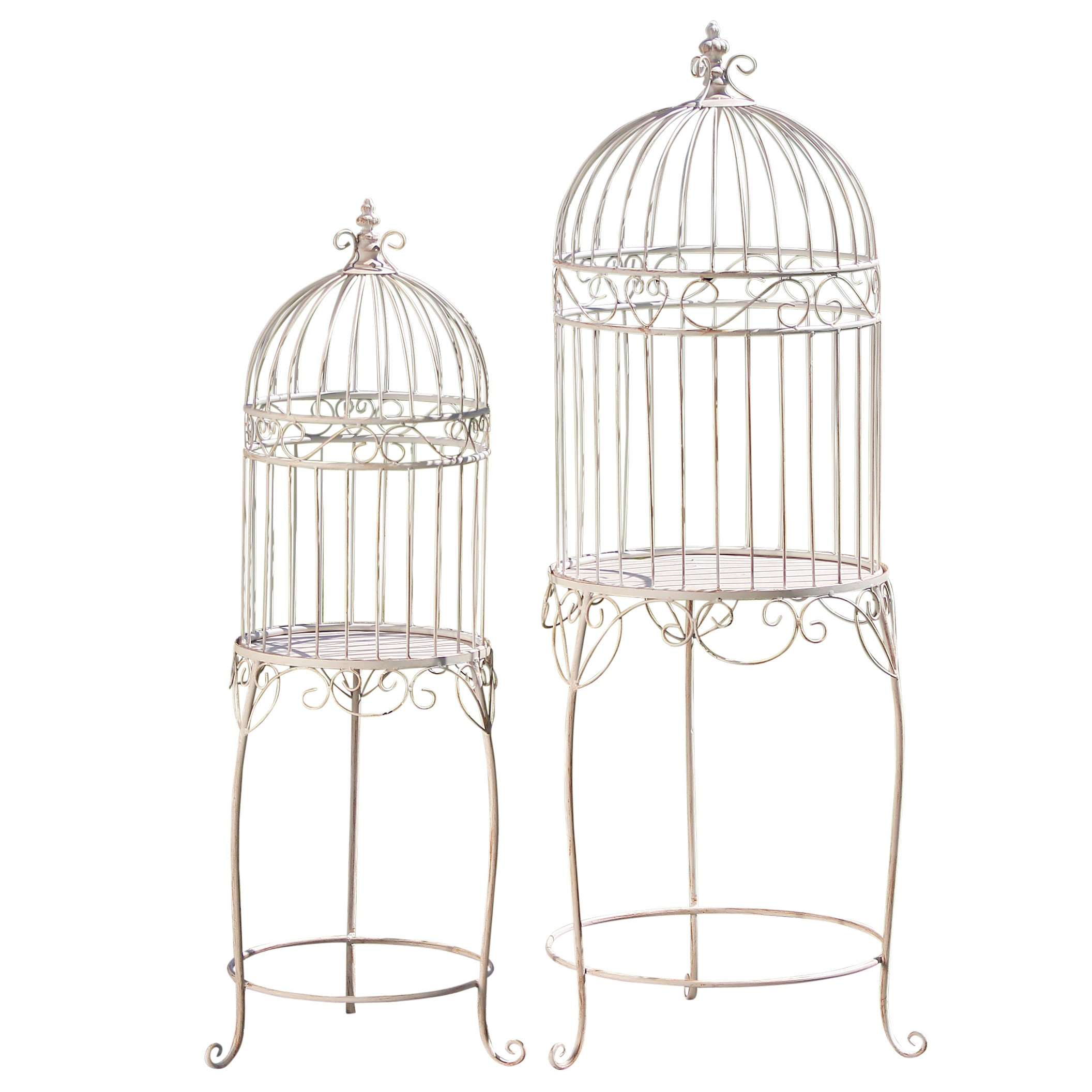 The Farmers Market Decorative Bird Cage Plant Stands, Set of 2, Pedestal Tables, Lift Off Tops, Distressed, Vintage Style, Iron, 17¾ D x 49¼ H Tall And 12½ D W x 40¼ H, By Whole House Worlds by Whole House Worlds